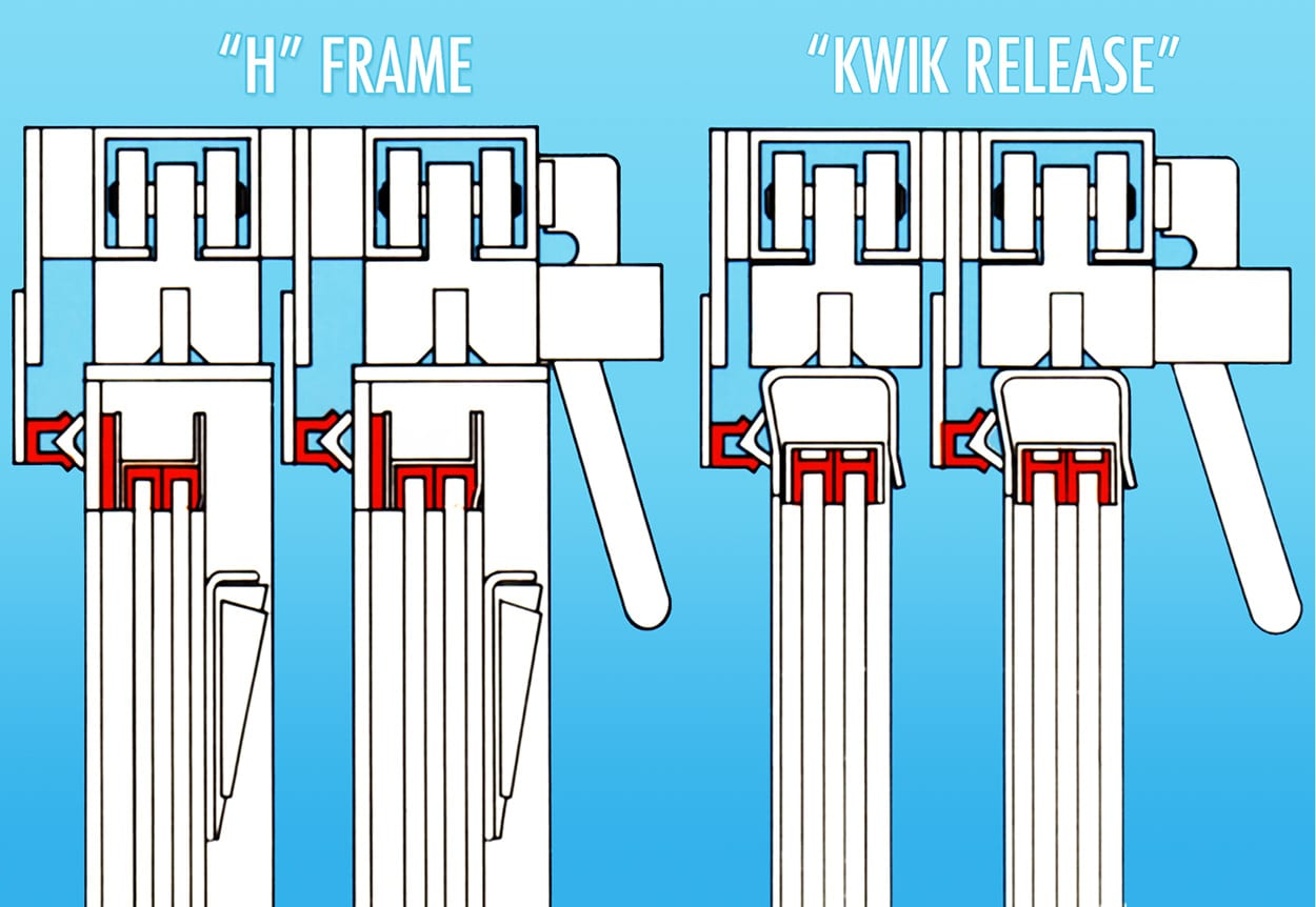 Heavy-Duty Overhead Roller Industrial Blast-resistant Window Diagrams with H Frame and Kwik Release